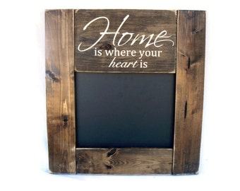 Chalkboard Rustic Wood Framed Gift Wall Decor - Home Is Where Your Heart Is (#1066-CB)