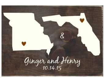 Personalized Two States Rustic Wood Sign / Home Decor / Wall Hanging / Wooden Plaque / Wedding Gift / Wedding Decor (#1372)