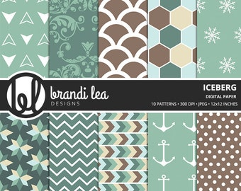 Iceberg Digital Paper - Digital Download - 300 DPI - 12x12 Inches - JPEG