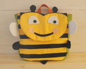 "Backpack ""Happy B"" (Beautiful colors for this bee shape backpack, 100% cotton, adjustable straps, easy velcro closure and lining inside)"
