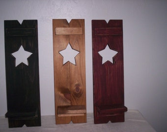 "Appy ""Country"" Star Shutter with Candle Holder, Wooden Shutter with Star Design and Candle Holder, Decorative Shutter"