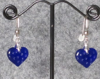 Dark Blue Heart Earrings with Stars