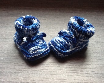 Baby boy shoes knit hand 0/3 months