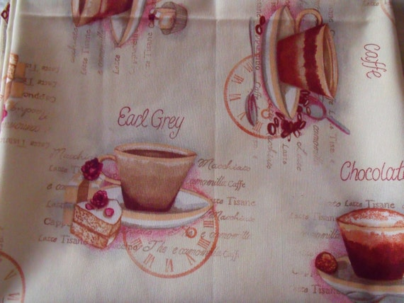 new large cotton fabric remnant, upholstery fabric, tea and coffee cups, over two metres, heavy weight upholstery fabric