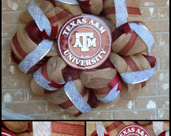 Texas A & M Wreath, Aggie Wreath, burlap wreath, front door wreath