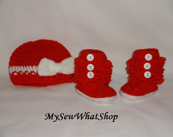 Red and White Hat and Booties Set - 0 to 6 Months