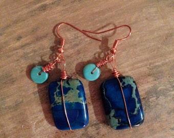 Indigo sea earrings