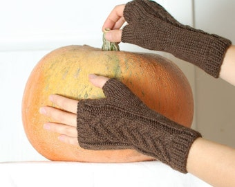 Knit fingerless glove brown organic wool - Cable knit natural fingerless gloves mittens
