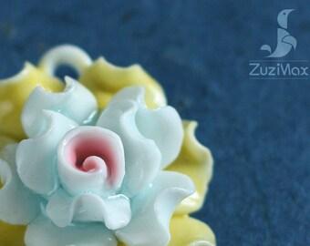 Necklace Pendant, Flower Pendant, Jewelry pendant, Necklace Flower, Ceramic Pendant, Floral Pendant, Jewelry Pendant, Pendant (PF-0026)