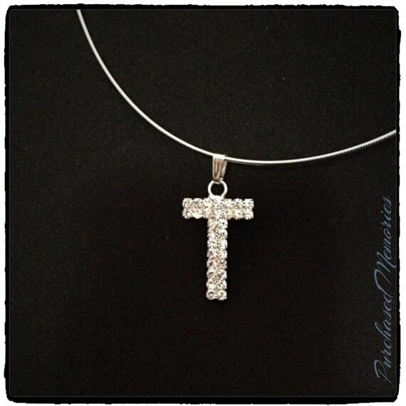letter t choker rhinestone choker necklace letter t