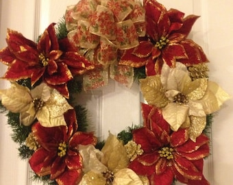 Red and Gold Poinsettia Wreath