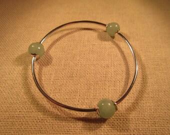 Vintage Sterling Silver Jade Bracelet