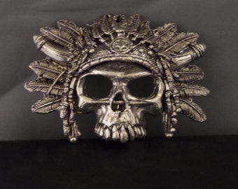 Pewter Sioux Skull Belt Buckle