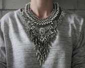 Statement Necklace - Handcrafted: Harlem. Silver and Bronze crystal layered stacked rhinestone ethnic bohemian necklace