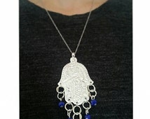 Hand of fatma silver necklace