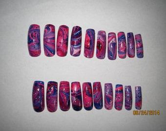 water marble, press on nails, cosmos water marble, universe nail art, full well nails, marble nail art, glitter nail art