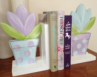 Flowerpot  Bookends - Mint/Lilac