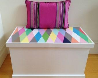 Toy Box - Harlequin Design, Toy Storage, Toy Chest, Toybox, Blanket Box, Wooden Toy Box, Modern Toy Box, Girls Toy Storage, Boys Toy box