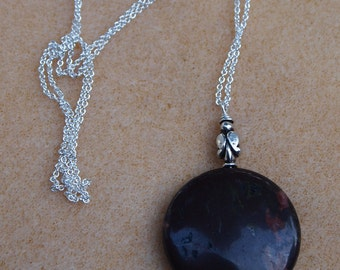 Chain Necklace in Sterling Silver and Pendant in Jasper and Quartz