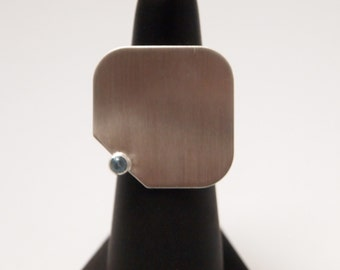 Square Sterling Silver Ring with Blue Semi Precious Stone with Matte Finish