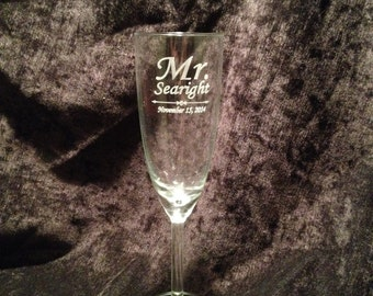 Personlized Engraved Champagne Flute Bridesmaid Wedding Groom Bride - Glass 7 oz