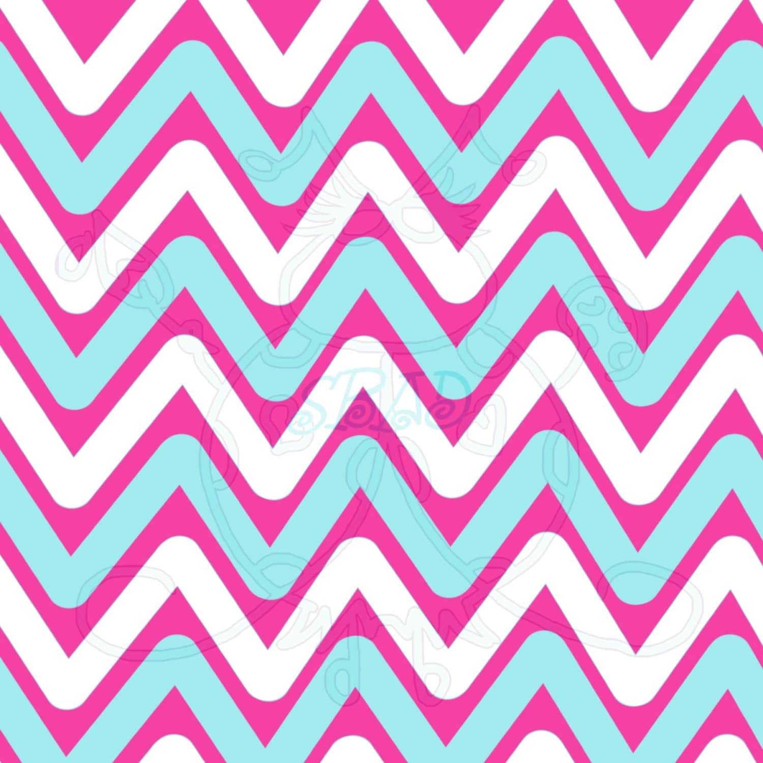teal pink white chevron digital paper hand drawn instant