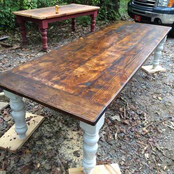 10 foot rustic farmhouse table in heart pine