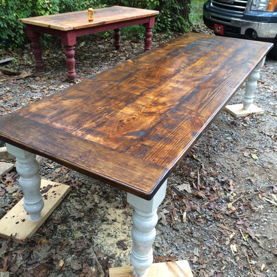 10 foot rustic farmhouse table in heart pine for What is a farmhouse table