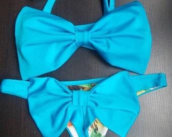 brazilian thong bikini bottom , bikini set , turquoise neon blue bow bandeau top  bow back bikini swimsuit 2 pieces bathing suit