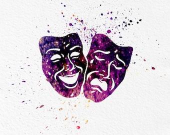 Watercolor Art Purple Theater Mask Modern 5x7 8x10 11x14 Wall Art Decor Purple Theatre Geek Wall Hanging Print Comedy Tragedy Mask