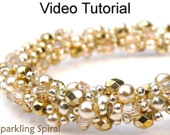Beading Tutorial Pattern Double Spiral Stitch Beaded Jewelry Making Bracelet Necklace Video Spiraling Rope Bead Beginner Crystal Pearl #9708