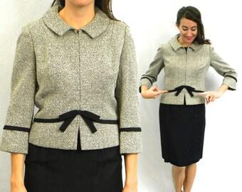 60s Grey Silk Wool Jacket | Tweed Jacket with Bow | John Doyle Bishop Seattle | Medium