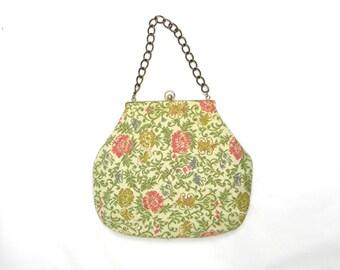 60s Tapestry Handbag | Ivory Pink Green Floral Purse