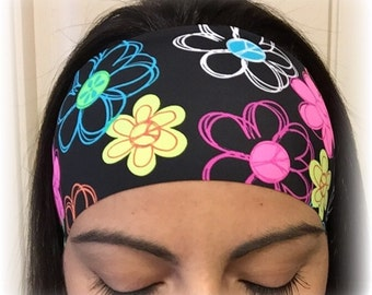 Neon Flowers - Non-slip athletic headband