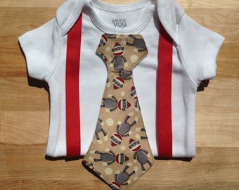 Red and Gray Sock Monkey Baby Boy Tie Bodysuit with Red Suspenders - Customize!