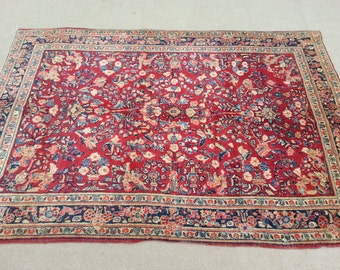 Size:6.7 ft by 4.4 ft Handmade Antique Oriental Tabrazi Fine Sarouk Rug