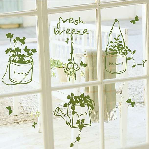 Green fresh little plant wall decal diy wall sticker wall for Cadre photo design mural