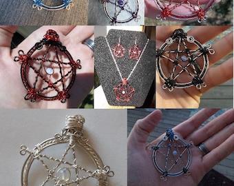Wire gemstone pentacle