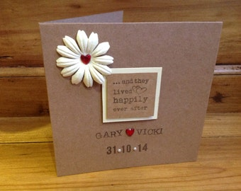 """Handmade personalised wedding card..""""and they lived happily ever after"""""""