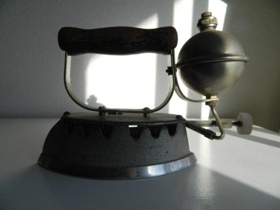 antique clothes iron akron gas iron