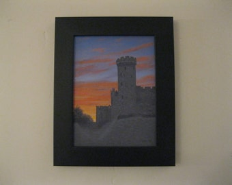 Original oil painting of Warwick Castle England in silhouette