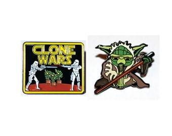 Star Wars Cannabis Clone Wars & Yoda Dabbing Bho Hat Pin Combo!