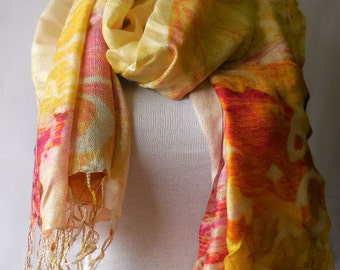 Multicoloured Digital Scarf Shawl Wrap Woman accessories ColorfulSpring summer winter fall scarf/paisley scarf/silky scarf