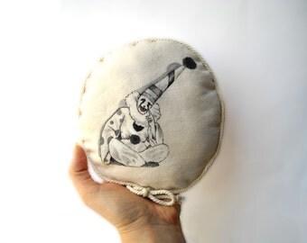 Pierrot clown, circus mini pillow, cute cushion, handpainted throw pillow, cute gift