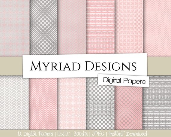 Pink And Gray Digital Paper 12x12 Paper Pack Scrapbooking Paper
