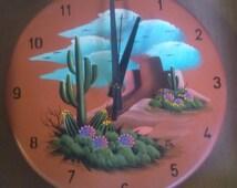 Indoor / Outdoor Clock - Saguaro Cactus on Terra Cotta