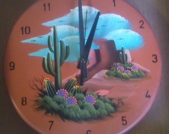 Indoor / Outdoor Clock - Saguaro Cactus on Terra Cotta