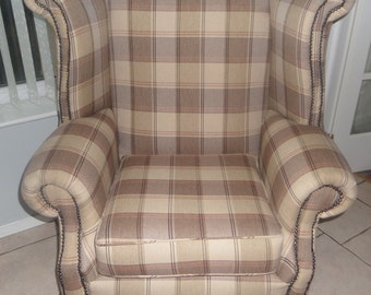 Stunning Checked Queen Anne Wing Chair
