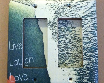 Live Laugh Love Beach and Waves Custom Light Switch Plate Cover - Home Decor *Choose Cover Type*