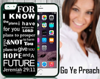 For I Know The Plans I Have Phone Case, Bible Verse Scripture iPhone case 4/4s 5/5s 5c 6 & Samsung Galaxy case s3 s4 s5 Faith iPhone Cover